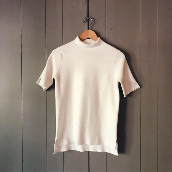 Zara Tops Knit Ivory Short Sleeve Mock Neck Sweater Poshmark